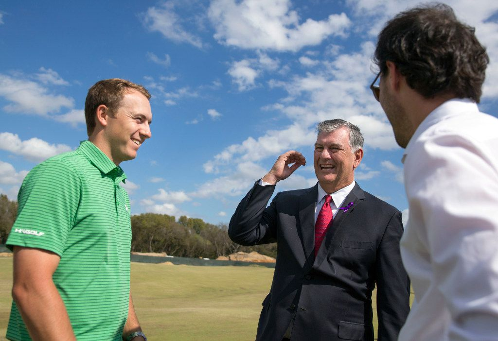 (From left) Jordan Spieth, Dallas Mayor Mike Rawlings and his son, Gunner Rawlings, joke before a press conference at Trinity Forest Golf Club Wednesday, October 26, 2016 in Dallas. The new course, in southern Dallas, will host the AT&T Bryon Nelson starting in 2017. (G.J. McCarthy/The Dallas Morning News)