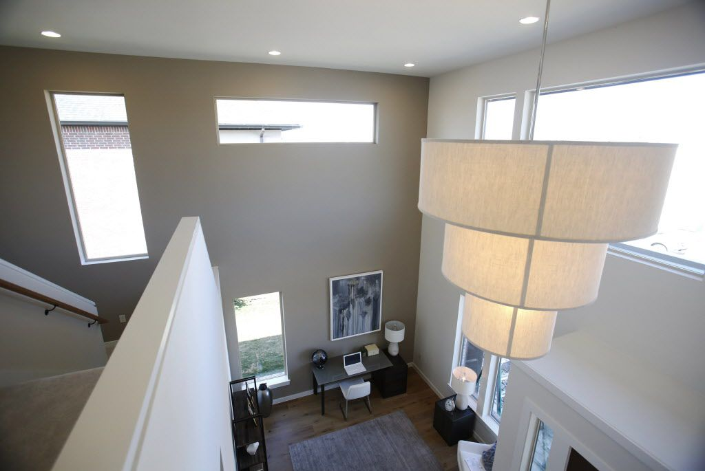 View from upstairs looking down in the MainVue Homes Carmel Q1 model home at Phillips Creek Ranch in Frisco, on Tuesday, February 17, 2015. (Vernon Bryant/The Dallas Morning News) 02272015xBIZ