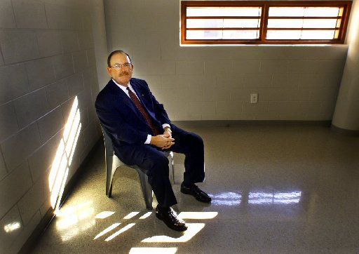 Collin County Sheriff Terry Box sits in one of the inmate meeting rooms inside the Collin County Jail in McKinney. (1999 File Photo/Staff)