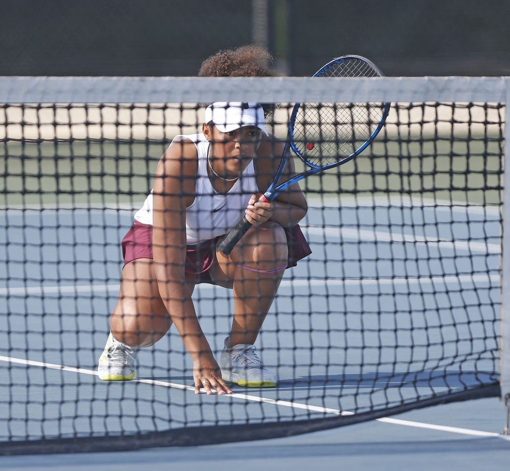 Frisco Heritage's Tamiya Lintz waits for the serve in 5A girls double match at the UIL State Tennis finals at Northside Tennis on Friday, May 21, 2021.