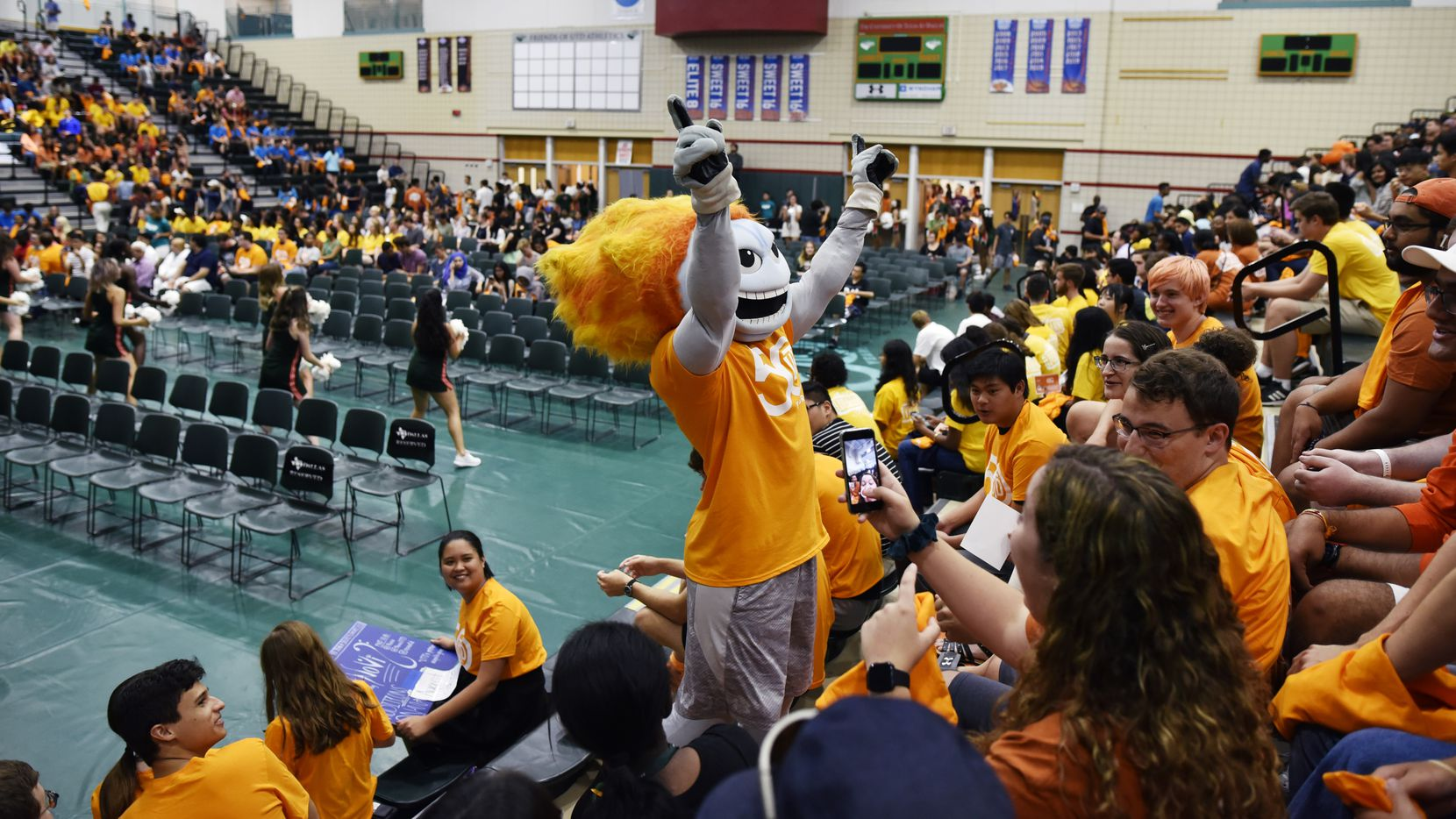 "Temoc, the UTD mascot, leads a happy birthday sing-along for one of the freshman in attendance at a new student convocation celebrating the 50th anniversary of the University of Texas at Dallas, Sunday Aug. 18, 2019 in Richardson. ""Temoc"" is comet spelled backwards."