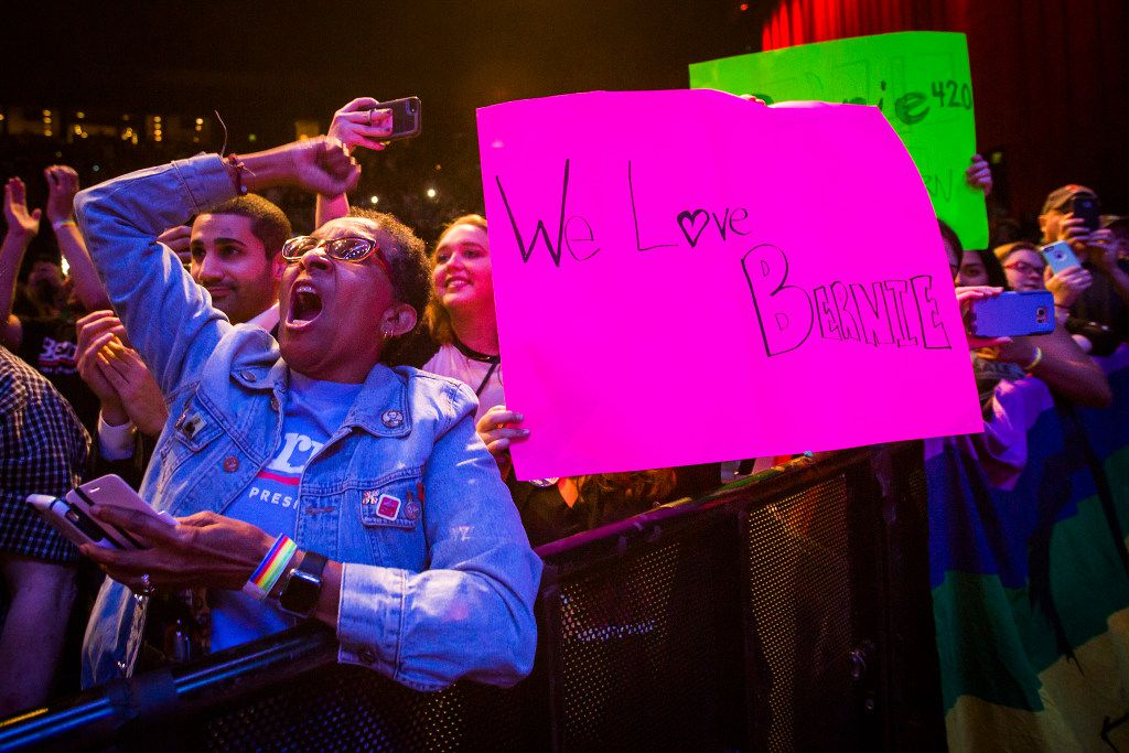 Supporters cheer for  Bernie Sanders as he speaks during the rally.