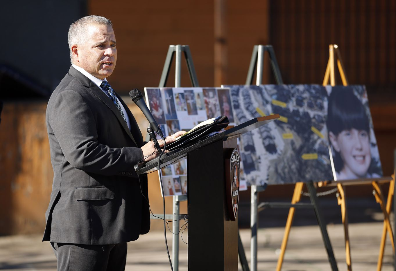 Arlington Police detective Sgt. Ben Lopez speaks about the events surrounding the abduction and subsequent murder of the little girl on January 13, 1996. The Arlington Police Department held a press event to provide new details at the abduction site in E. Arlington, Texas, Wednesday, January 13, 2021.