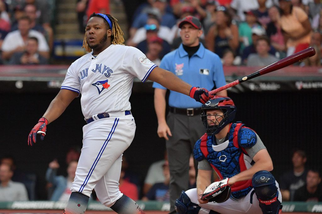 CLEVELAND, OHIO - JULY 08: Vladimir Guerrero Jr. of the Toronto Blue Jays competes in the T-Mobile Home Run Derby at Progressive Field on July 08, 2019 in Cleveland, Ohio. (Photo by Jason Miller/Getty Images)