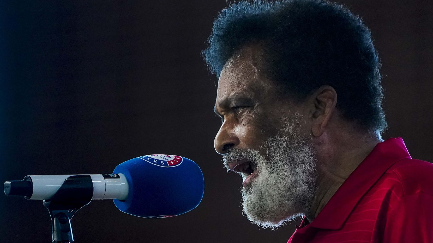 Charley Pride sings the national anthem before the Texas Rangers faced the Colorado Rockies on opening day at Globe Life Field on Friday, July 24, 2020.