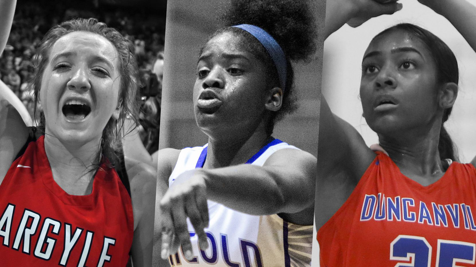 From left to right: Argyle's Rhyle McKinney, Lincoln's Alexis Brown and Duncanville's Deja Kelly.