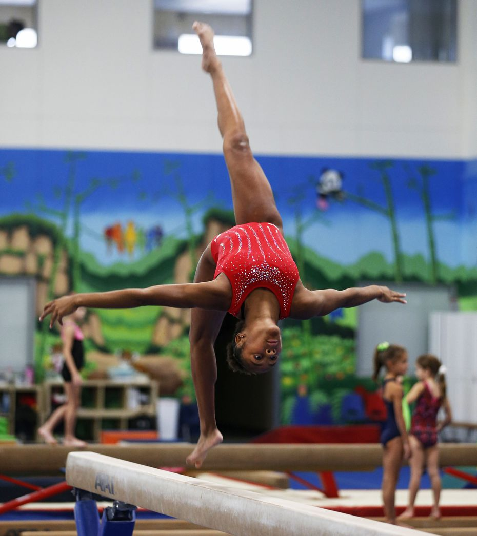 Skye Blakely during practice at WOGA Gymnastics in Frisco, Texas on Thursday, July 23, 2020. Blakely is a 2021 Olympic hopeful who now has a shot to make the 2021 team thanks to the delay in the Tokyo games. (Vernon Bryant/The Dallas Morning News)