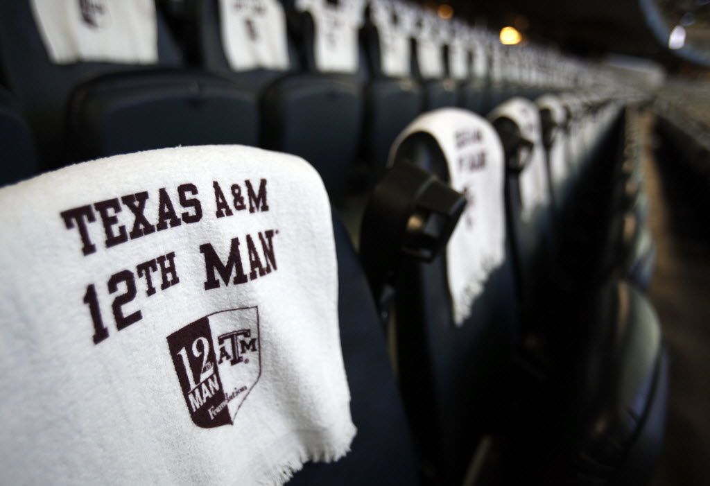 12th Man towels rest on seats inside Cowboys Stadium before the Cotton Bowl game between Texas A&M Aggies and Oklahoma Sooners at Cowboys Stadium in Arlington on Friday, January 4, 2013. (Vernon Bryant)