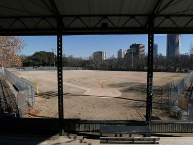 Last winter, Reverchon Park's ballfield, as seen from the historic grandstand, showed its age -- every bit of 100 years old.