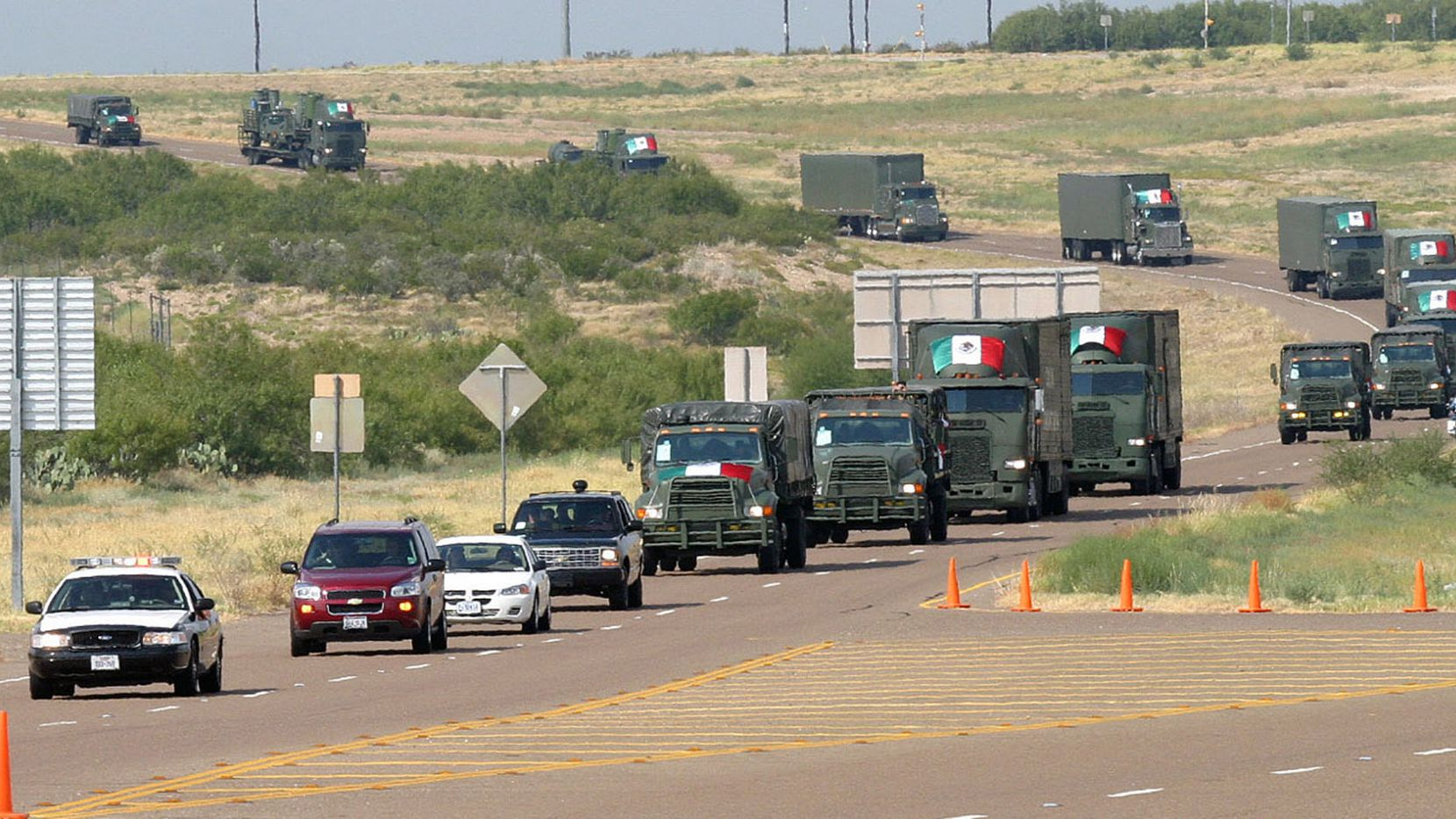Texas Department of Public Safety troopers and Army personnel escorted a convoy of Mexican vehicles west of Laredo in September 2005 to help Hurricane Katrina evacuees in San Antonio. The convoy was the first Mexican military unit to operate on U.S. soil since 1846.
