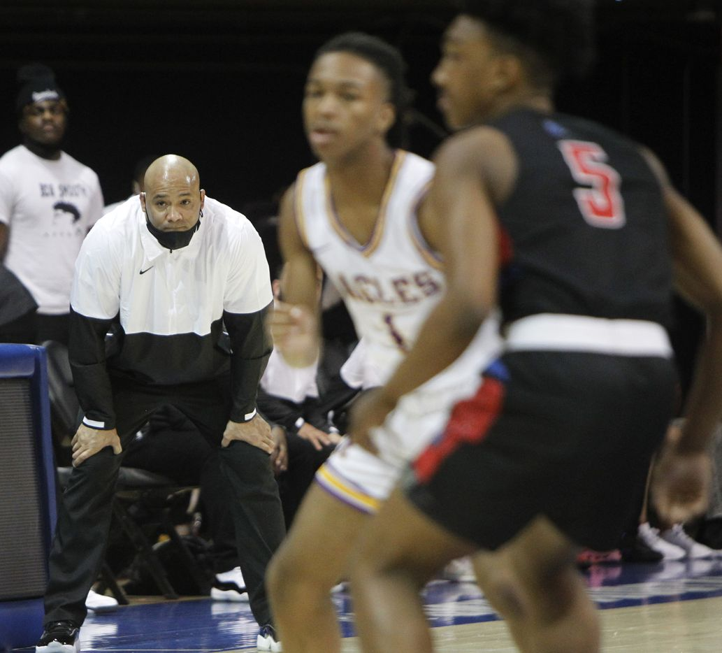Duncanville head coach David Peavy intently follows the final minute of play in their 68-49 victory over Richardson to advance. The two teams played their Class 6A state semifinal boys basketball playoff game at Moody Coliseum on the campus of SMU in Dallas on March 9, 2021. (Steve Hamm/ Special Contributor)
