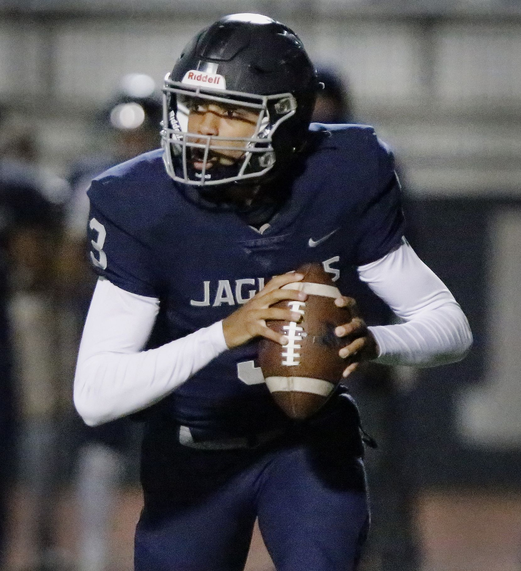 Flower Mound High School quarterback Nick Evers (3) rolls out of the pocket during the first half as Flower Mound High School hosted Flower Mound Marcus High School at Neal E. Wilson Jaguar Stadium on Friday night, October 23, 2020. (Stewart F. House/Special Contributor)