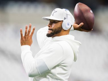 Dallas Cowboys quarterback Dak Prescott (4) warms up before an NFL game between the New York Giants and Dallas Cowboys on Sunday, September 8, 2019 at AT&T Stadium in Arlington.