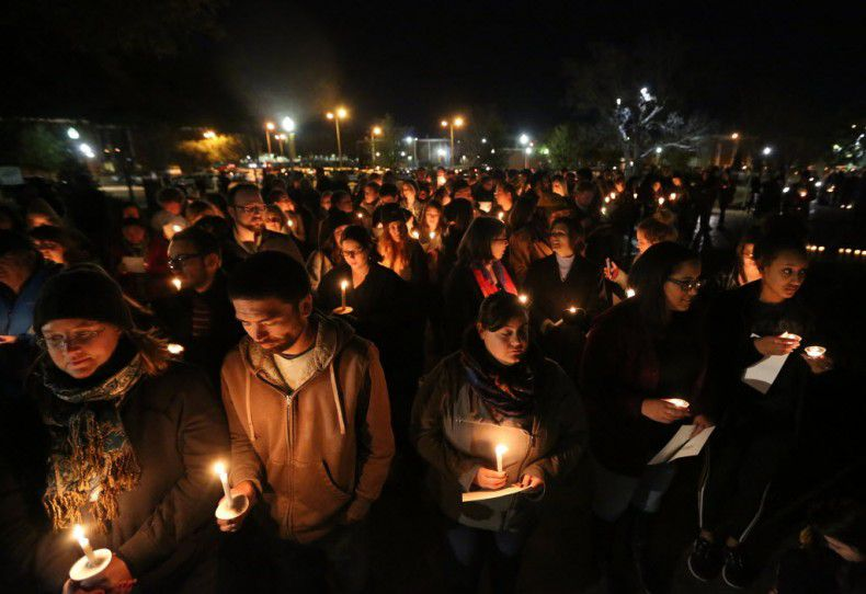At a candlelight vigil outside the home of Baylor University President Ken Starr on Feb. 8, 2016, students and others called for reforms in the handling of sexual assault complaints. (Rod Aydelotte/Waco Tribune-Herald)