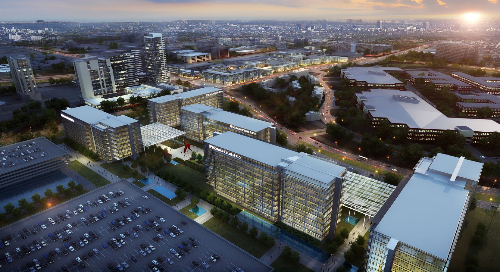 JPMorgan Chase's 1 million-square-foot, more than $300 million Plano office campus was originally shown to have five or more office buildings.