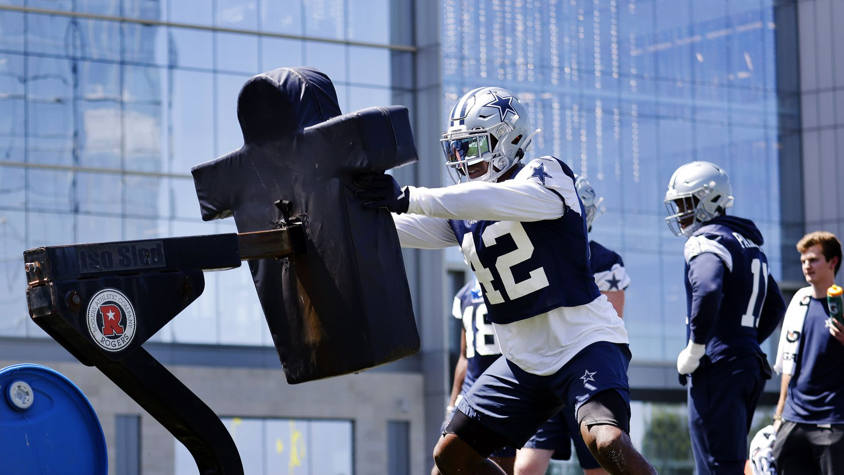 Dallas Cowboys linebacker Keanu Neal (42) hits the blocking dummies during Training Camp practice at The Star in Frisco, Texas, Wednesday, August 25, 2021.