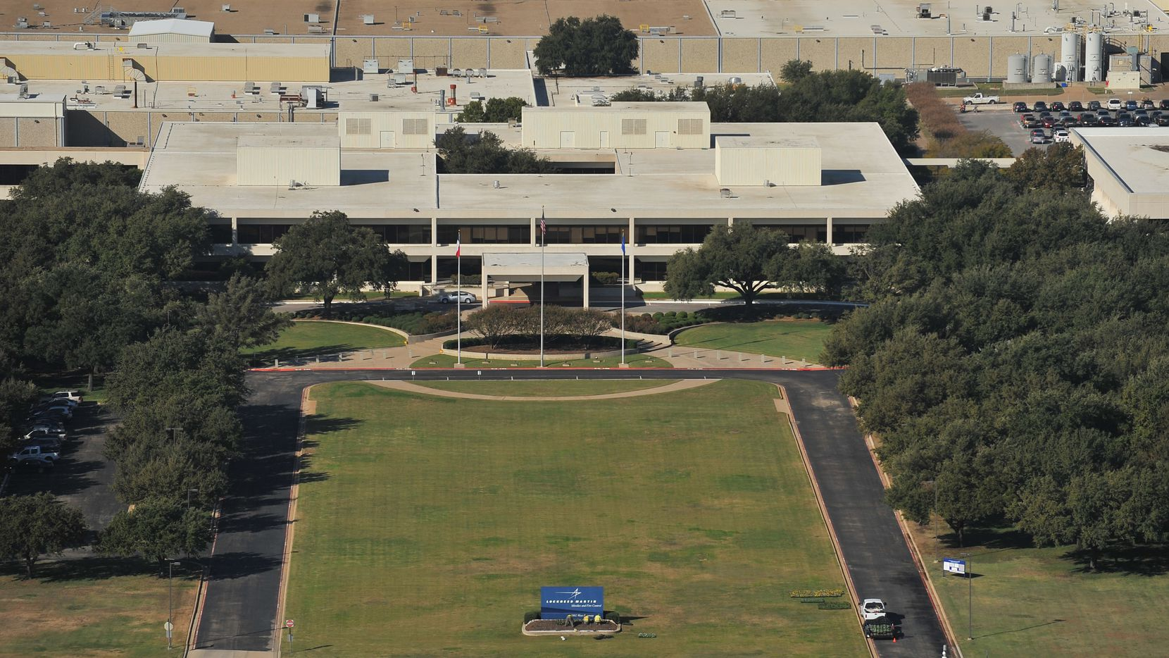 Exterior of Lockheed Martin's Missiles and Fire Control facility in Grand Prairie, Texas.