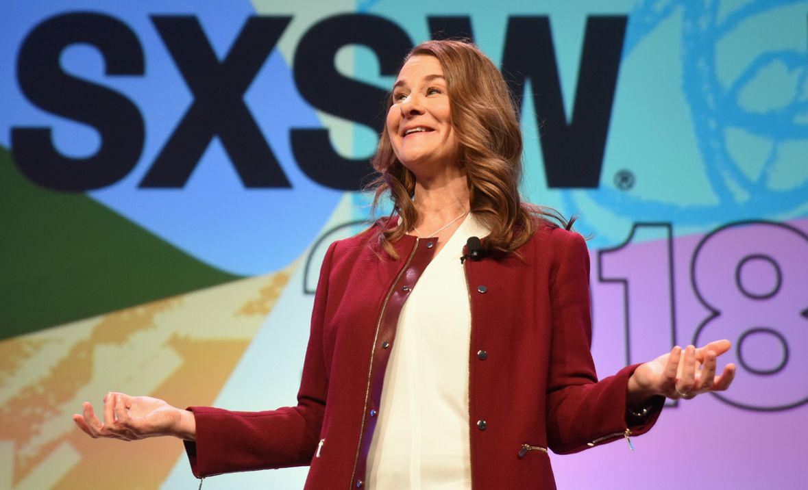 Melinda Gates giving the keynote address for The Company We Keep;A Conversation about creating workplaces where everyone can contribute, panelists, Melinda Gates, Joanna Coles, Stacy Brown-Philpot, and Nina L. Shaw, discussing workplace diversity and gender equality at SXSW, Austin, Texas on March 11, 2018.