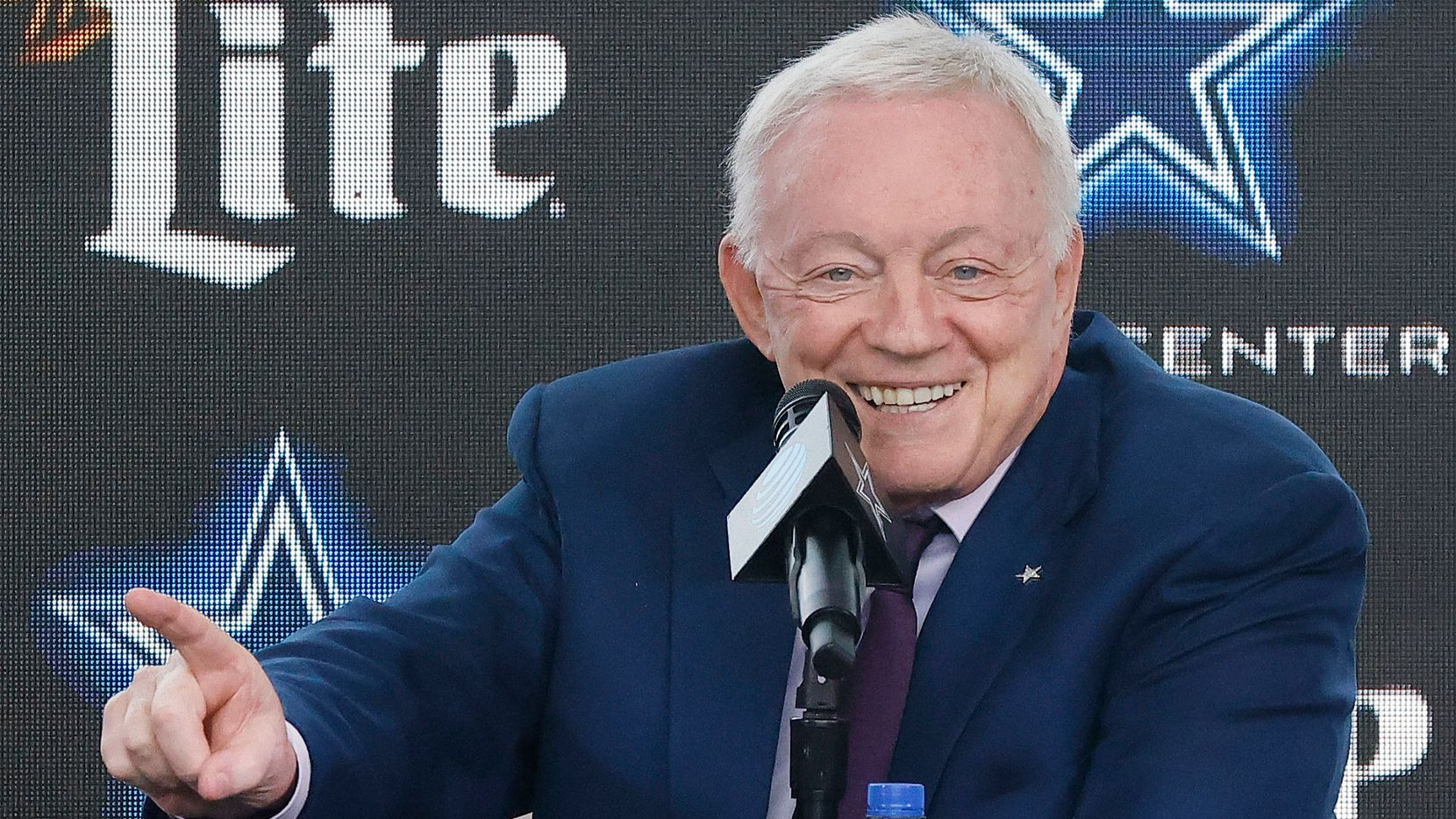 Dallas Cowboys owner Jerry Jones addresses the media at The Star in Frisco, Texas after signing Dak Prescott to a 4-year, $160 million contract with the team, Wednesday, March 10, 2021. (Tom Fox/The Dallas Morning News)