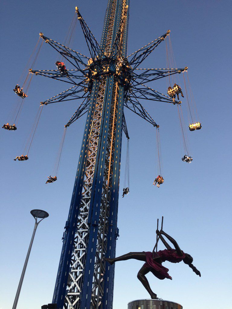 The StarFlyer, which spins you 450 feet in the air at speeds up to 45 mph, is billed as the world's tallest swing ride.