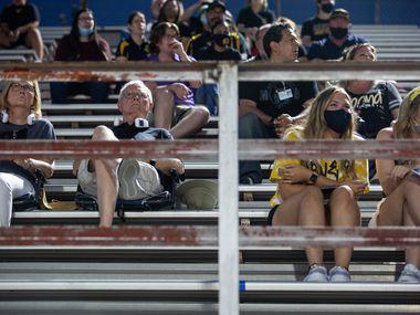 Garland High School fans at Sprague Stadium watch the the season-opening game between Garland High School and Justin F. Kimball High School on August 27, 2021.