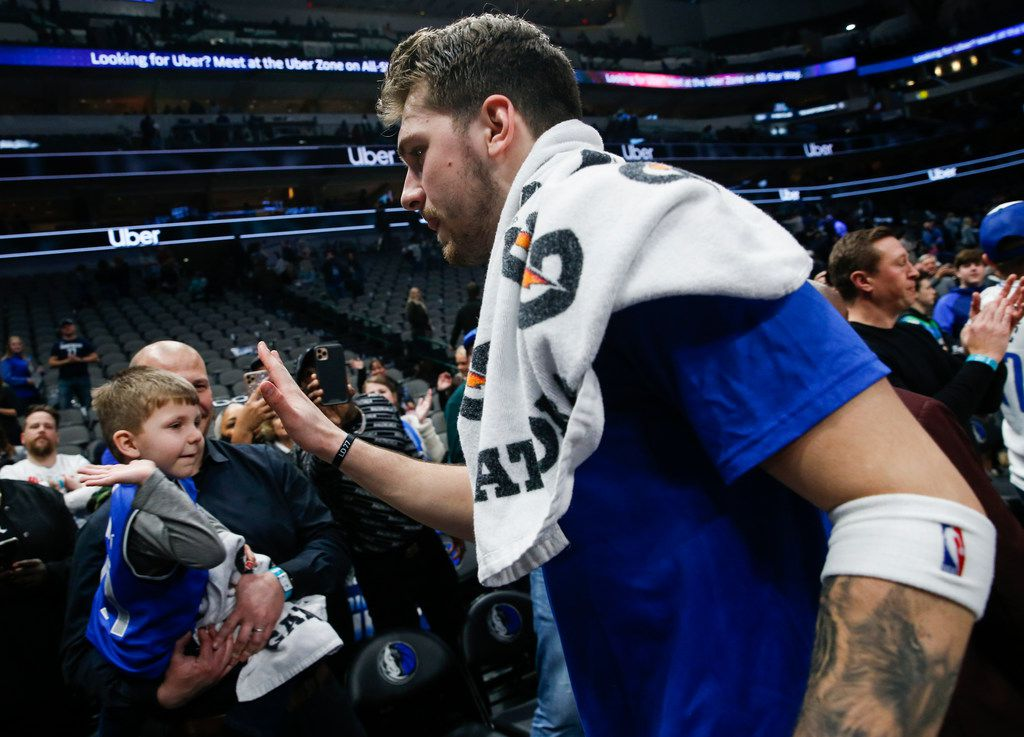 Dallas Mavericks guard Luka Doncic (77) exits the court following a win over the Sacramento Kings on Wednesday, Feb. 12, 2020 at American Airlines Center in Dallas. (Ryan Michalesko/The Dallas Morning News)
