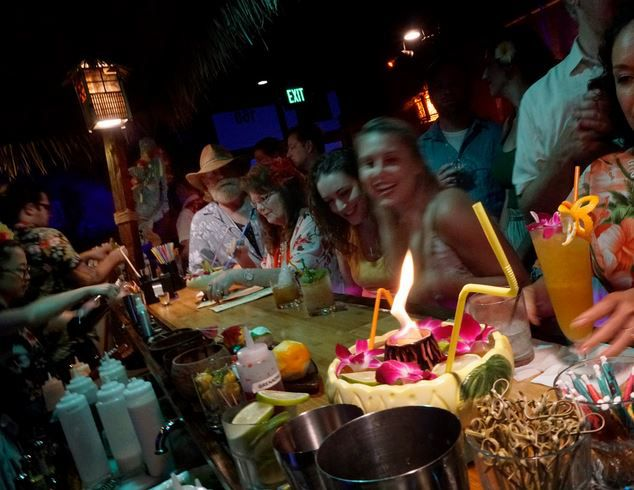 The Volcano Bowl is among the offerings at 4 Kahunas, a tiki bar in Arlington.