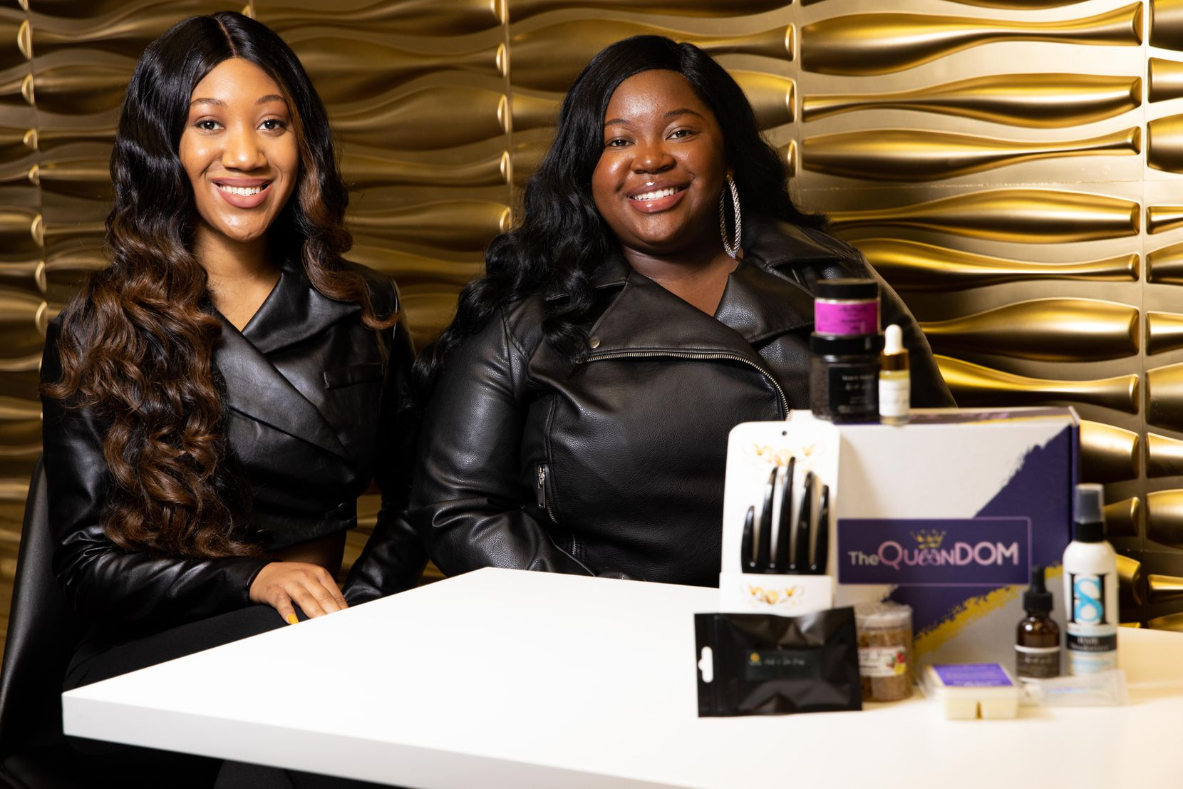 Bridgette Jones (left) and Valese Jones wanted to spotlight minority small-business owners when they started The Queendom Beauty Box last October.