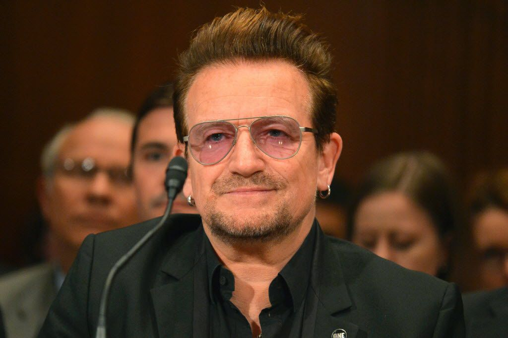 Bono, lead singer of the rock band U2 and humanitarian activist, listened to testimony during a Senate Appropriations Subcommittee in 2016 in Washington. The hearing was on the causes and consequences of violent extremism and the role of foreign assistance.