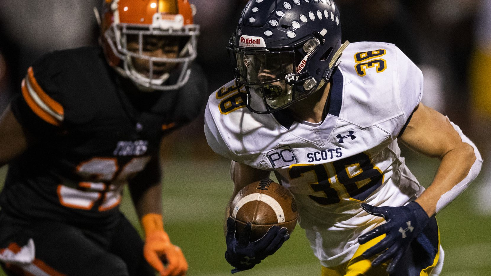 Highland Park running back Hunter Heath (38) runs the ball during the fourth quarter of a District 6-5A Division I high school football game between Highland Park and Lancaster on Friday, November 1, 2019 at Beverly D. Humphrey Tiger Stadium in Lancaster. (Ashley Landis/The Dallas Morning News)