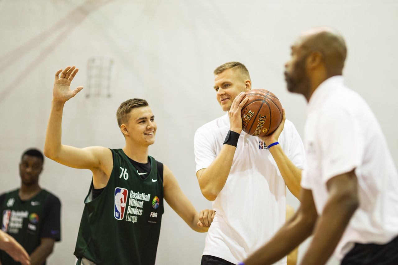 Kristaps Porzingis taking part in the first Basketball Without Borders (BWB) camp in Latvia.