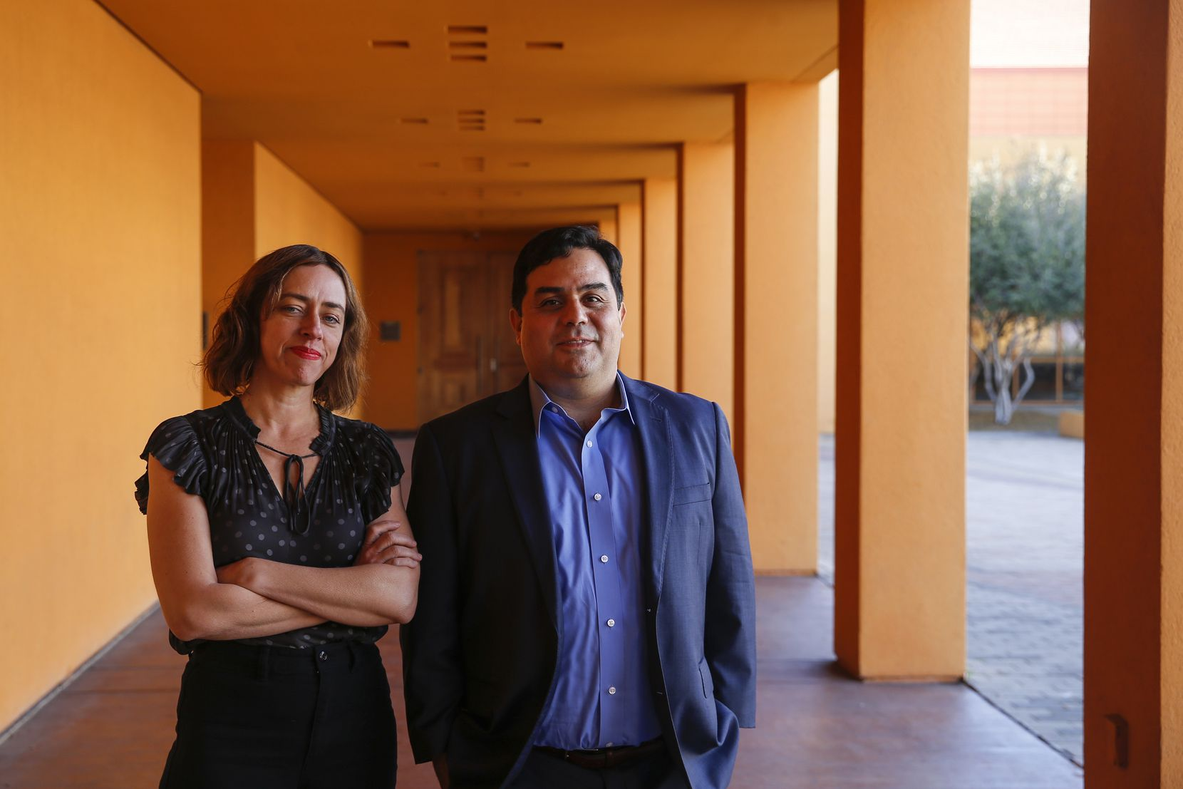 "Sara Cardona (left) and David Lozano are the executive artistic directors of Teatro Dallas and Cara Mia Theatre, respectively. The resident companies of the Latino Cultural Center are collaborating on a series of outdoor shows called ""Soltar."""