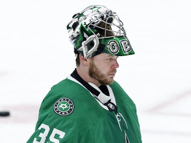 Dallas Stars goaltender Anton Khudobin (35) skates to the goal following a third period break in play against the Carolina Hurricanes at the American Airlines Center in Dallas, Tuesday, April 27, 2021.
