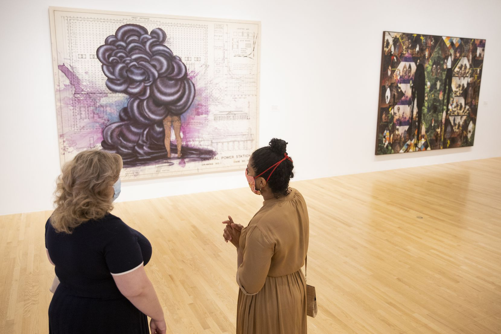 """Vivian Crockett (right), a curator of contemporary art, talked about Firelei Báez's """"Untitled (Central Power Station)"""" in August 2020."""
