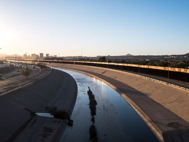 A view of the Rio Grande which separates Ciudad Juarez, Chihuahua, Mexico, left, and El Paso, Texas, right, Tuesday, Nov. 26, 2019.