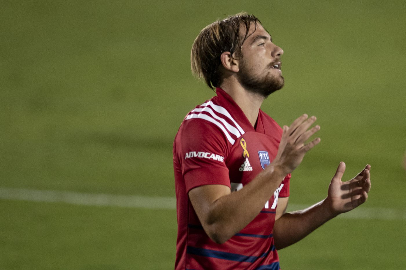 FC Dallas midfielder Paxton Pomykal (19) reacts after missing an attempted kick during FC DallasÕ home game against the San Jose Earthquakes at Toyota Stadium in Frisco, Texas on Saturday, September 11, 2021. (Emil Lippe/Special Contributor)