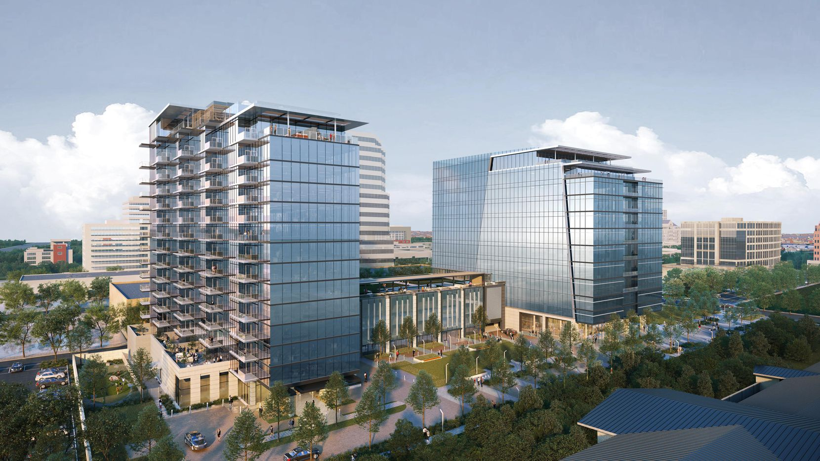 Lincoln Property Co. plans to building two towers - one with offices and one residential - on Douglas Avenue just east of the Dallas North Tollway in Preston Center.