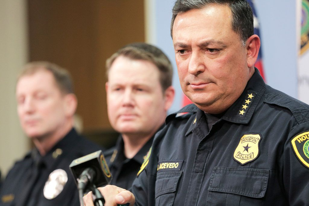 Houston Police Chief Art Acevedo talks to the media during a press conference at the police station, Friday, Feb. 15, 2019.