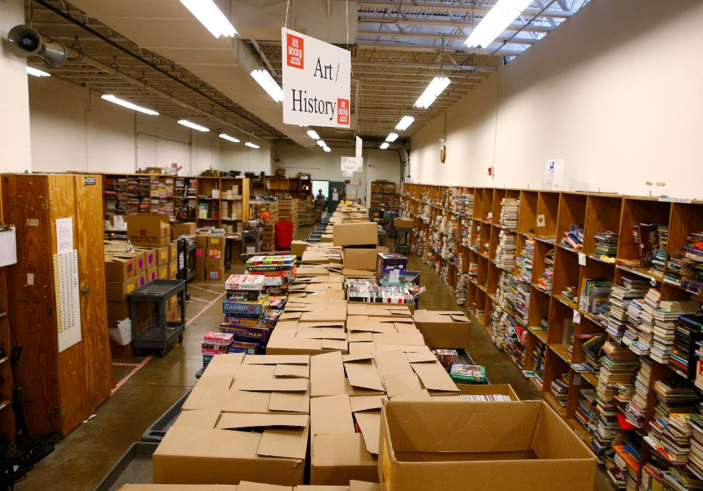 The book intake storage area at  Half Price Books at the store on Northwest Highway in Dallas on July 27, 2017.