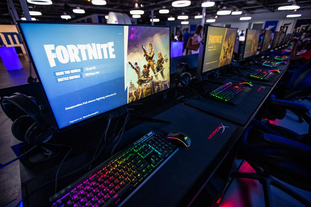 Fortnite is loaded onto gaming computers during an open house at the Mavs Gaming Pavilion in Deep Ellum, Thursday, September 6, 2018. (Brandon Wade/Special Contributor)