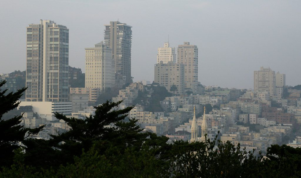 Smoke and haze from the recent wildfires hovered over Russian Hill on Nov. 19 in San Francisco.