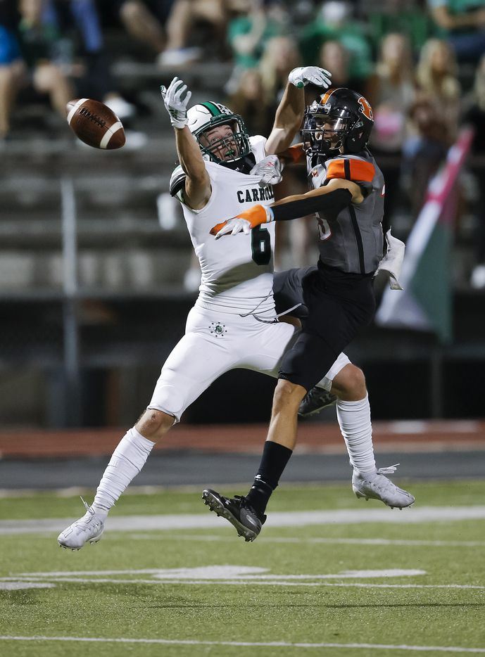 Southlake Carroll junior wide receiver Landon Samson (6) is unable to catch a pass as Rockwall junior defensive back Cadien Robinson (13) defends during the first half of a high school football game at Wilkerson-Sanders Stadium in Rockwall, Thursday, October 8, 2020. (Brandon Wade/Special Contributor)