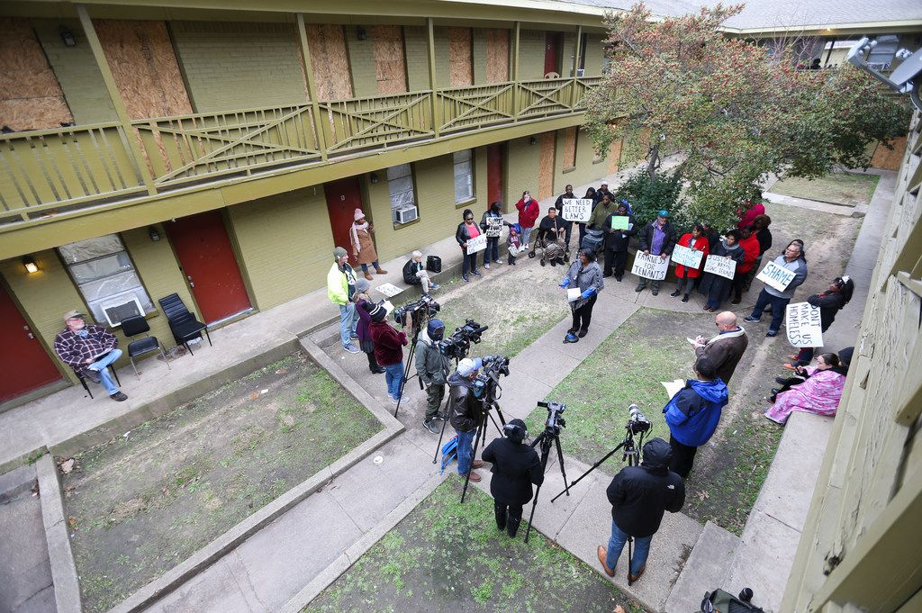 Bryan Song Apartments residents gathered for a press conference on Tuesday.
