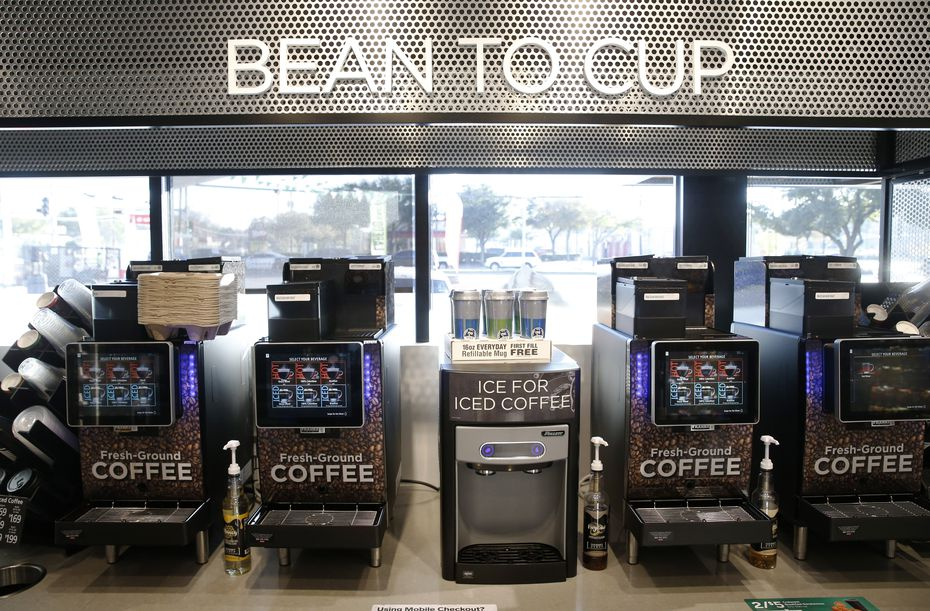 New machines grind beans when customers select a cup. The expanded coffee station can also make a nitro cold brew.