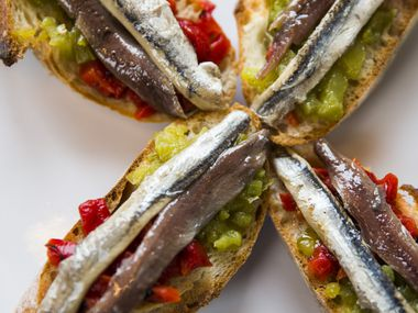 """Matrimonio,"" or dark and white anchovies on toast, at Sketches of Spain"