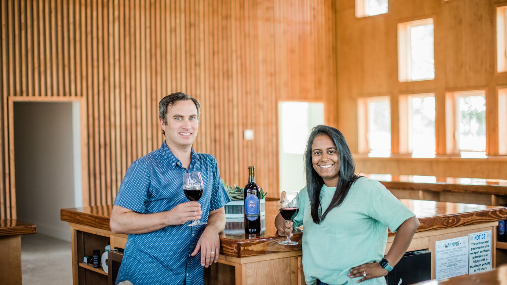 Greg and Nikhila Narra Davis debut their new Kalasi Cellars tasting room in Fredericksburg.