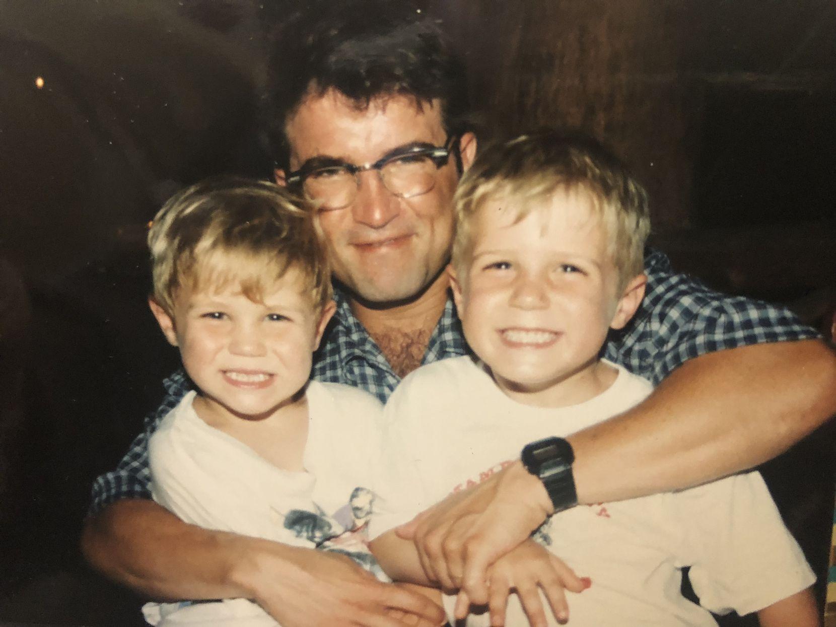 Texas Rangers outfielder Scott Heineman, left, and San Francisco Giants catcher Tyler Heineman are pictured as children are pictured with father Steve Heineman.
