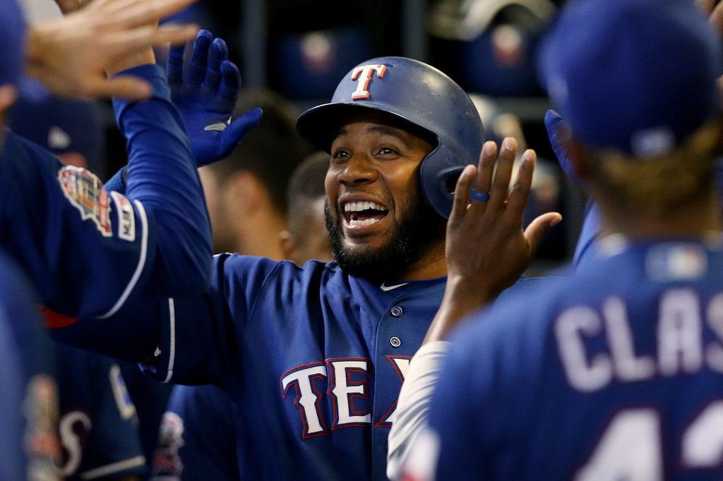 Elvis Andrus of the Texas Rangers celebrates with teammates after hitting a home run in the ninth inning against the Milwaukee Brewers at Miller Park in Milwaukee on Friday, Aug. 9, 2019. The Brewers won, 6-5. (Dylan Buell/Getty Images/TNS) **FOR USE WITH THIS STORY ONLY**