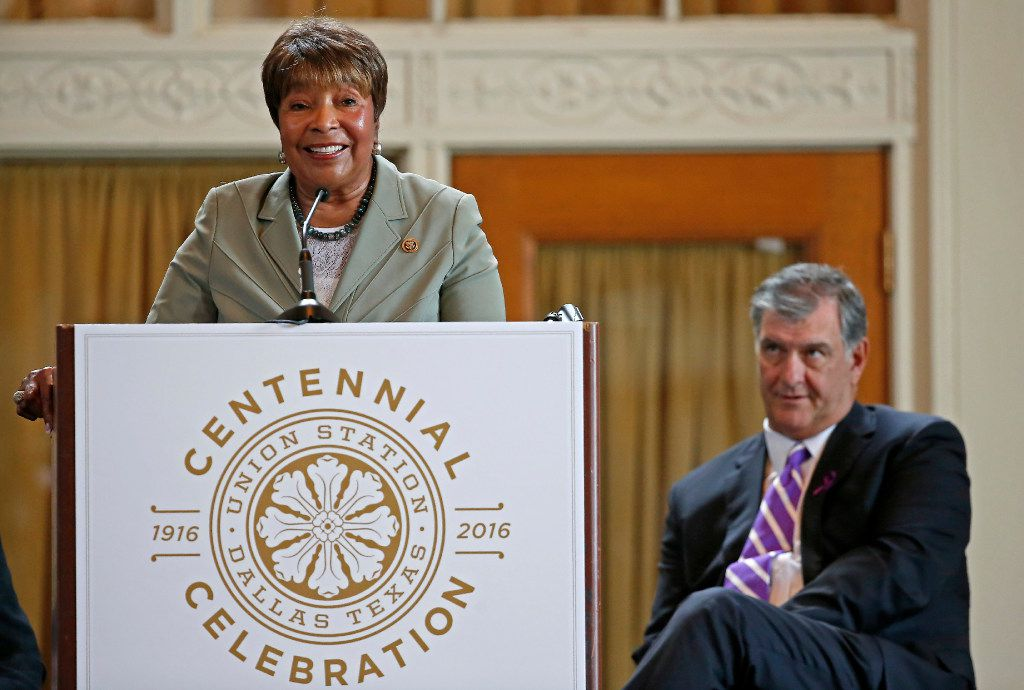Congresswoman Eddie Bernice Johnson speaks next to Mayor Mike Rawlings during the Union Station Centennial Celebration at Union Station's Grand Hall in Dallas on Oct. 17, 2016. The City Council renamed the facility Eddie Bernice Johnson Union Station.