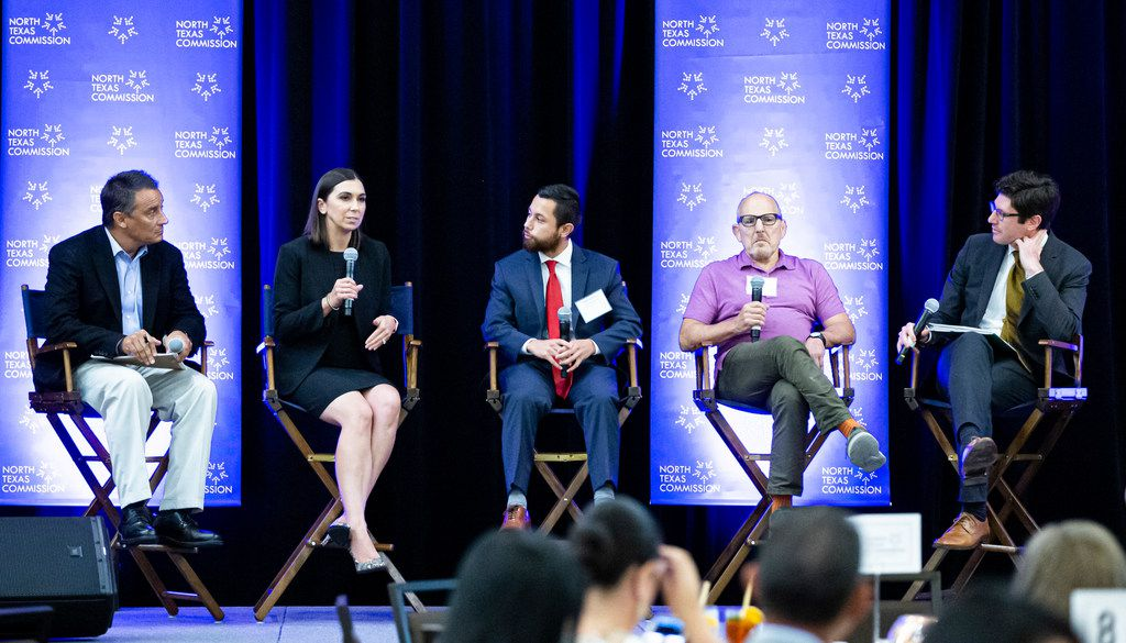 Jeremy Robbins (far right) led a discussion Wednesday on the economic impact of immigrants in North Texas. Panelists included (from left) immigration lawyer Francisco Hernandez; Laura Collins of the George W. Bush Institute;  Juan Carlos Cerda of the Texas Business Immigration Coalition; and Jim Baron, CEO of Blue Mesa Grill.